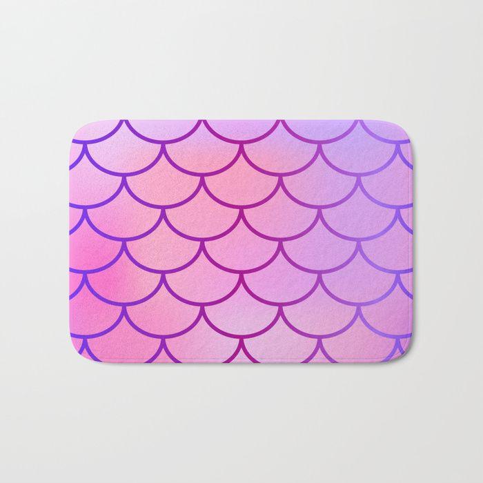 Buy Pink Purple Mermaid Bath Mat By Newburydesigns Worldwide