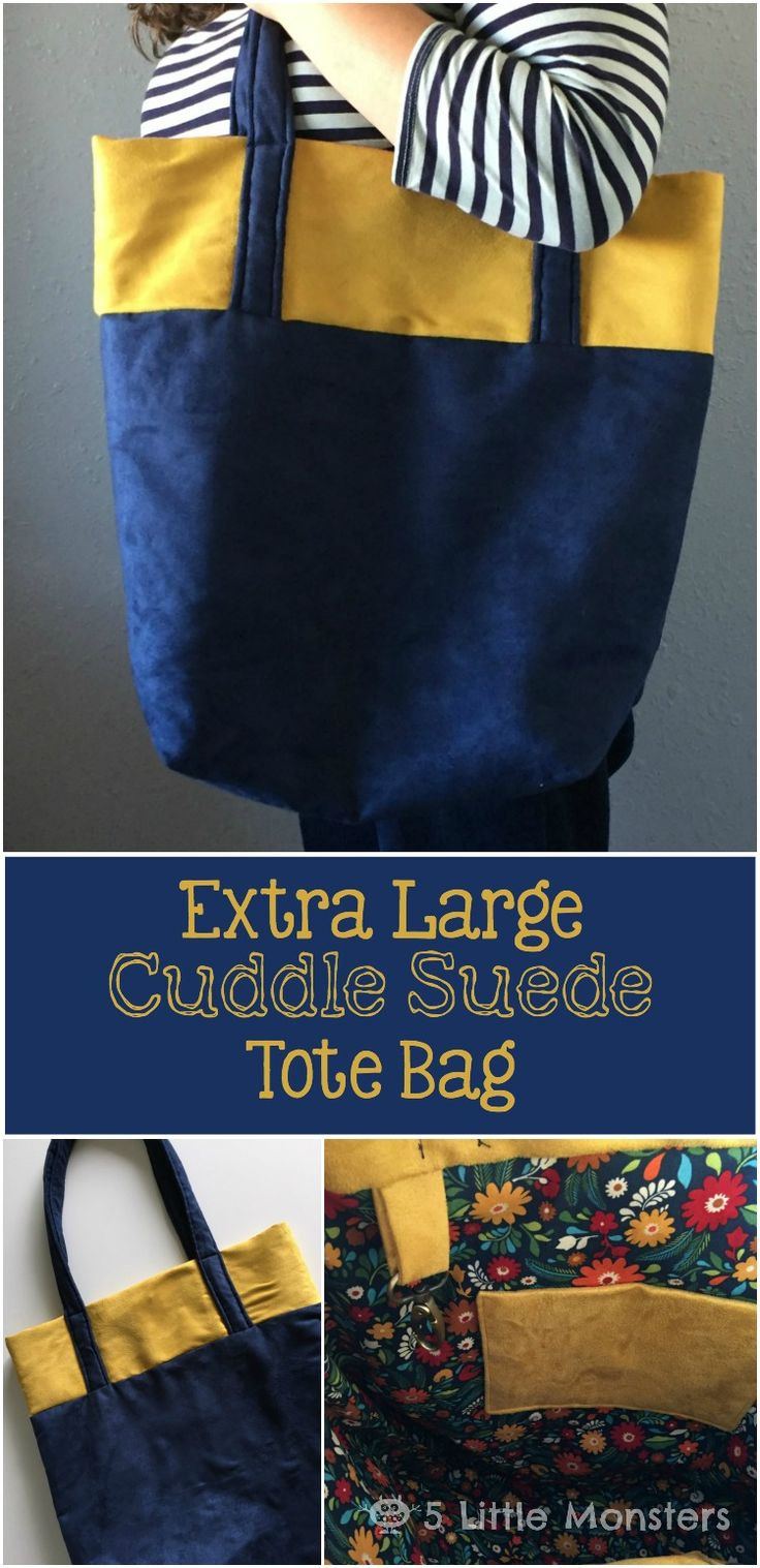 5 Little Monsters: Extra Large Cuddle Suede Tote Bag