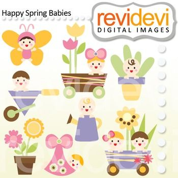 This clip art set features cute babies in spring.  These cliparts are great for teachers and educators for creating their school and classroom projects such as for bulletin board, printable, worksheet, classroom decor, craft materials, activities and games, and for more educational and fun projects.