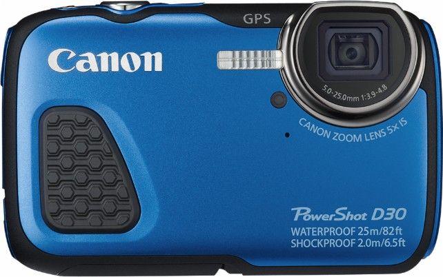 Canon - PowerShot D-30 12.1-Megapixel Waterproof Digital Camera - Blue - Front Zoom