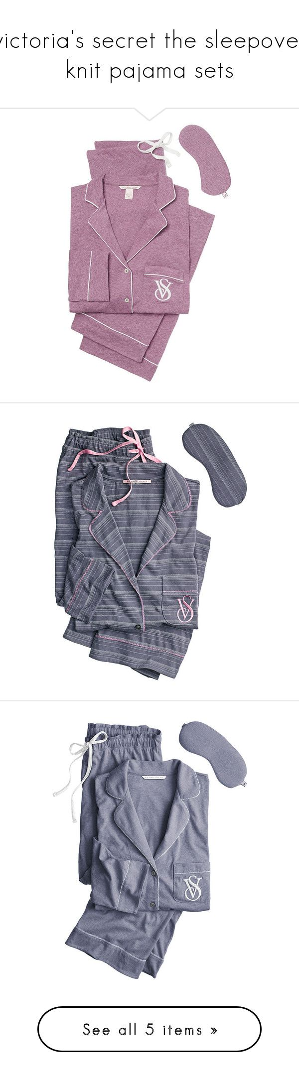 """victoria's secret the sleepover knit pajama sets"" by babyprincessdarling ❤ liked on Polyvore featuring intimates, sleepwear, pajamas, victoria secret pajamas, striped pajamas, long pajamas, short pajamas, striped pyjamas, victoria secret pyjamas and victoria's secret"