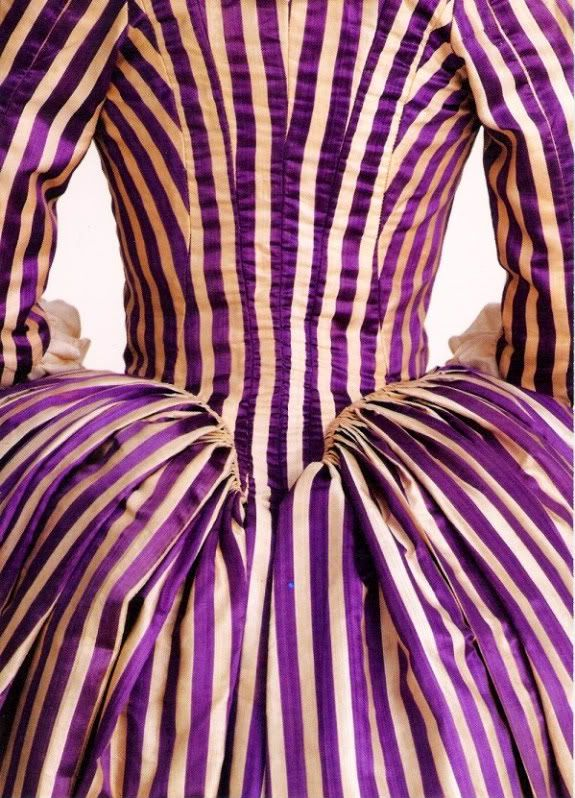 Purple striped gown (detail) from Fashioning Fashion: European Dress in Detail, 1700-1914, Resnick Pavilion, Los Angeles County Museum of Art (October 2, 2010–March 6, 2011)