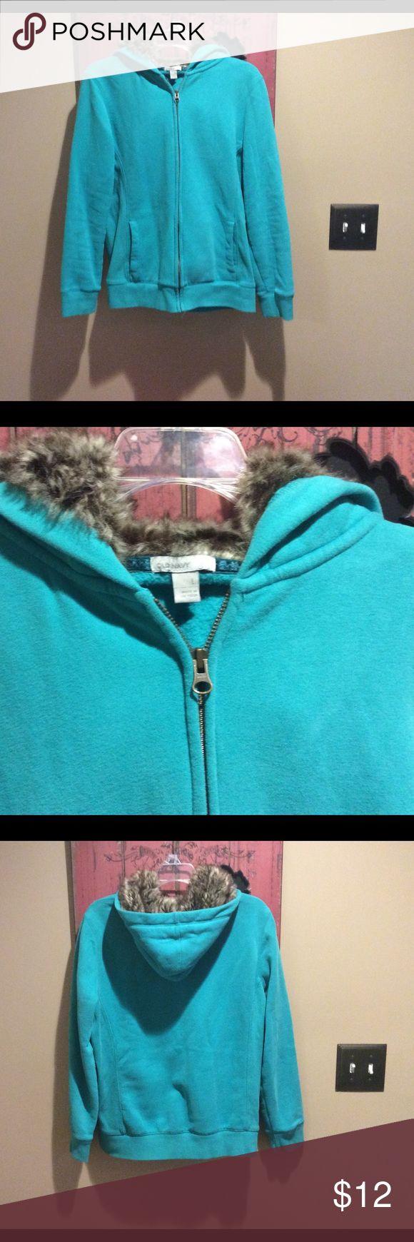 Old navy zip up hoodie Super cute Old Navy zip up hoodie with faux fur hood.  Size large.  💕 Old Navy Tops Sweatshirts & Hoodies