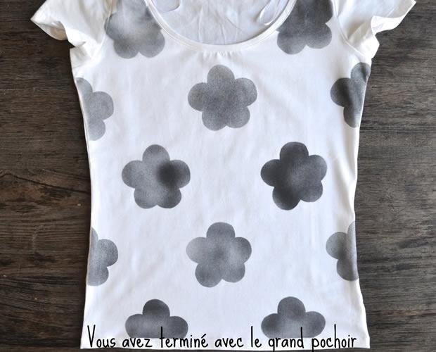 DIY TUTORIAL:   t-shirt fleur en aérosol