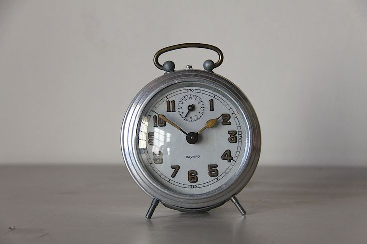French Vintage Alarm Clock Bayard Aluminium Convex Glass Face by maintenant on Etsy https://www.etsy.com/listing/221188569/french-vintage-alarm-clock-bayard