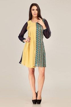 Kurtis,Admyrin,Light Yellow and Blue Embroidered Full Sleeve Kurti