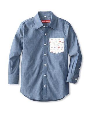 91% OFF Rival Crews Boy's The Hack Yarn Dye Cotton Contrast Button-Up Shirt (Light Indigo/Print)