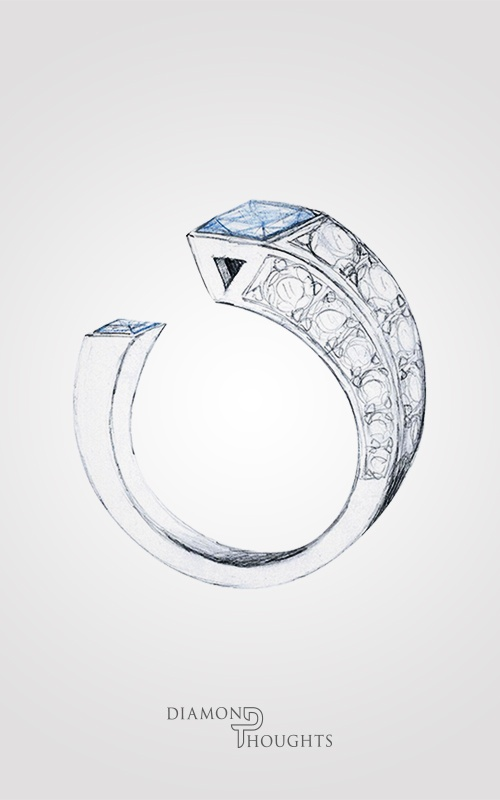 A lovely custom sketch of a fashionable ladies ring. Find more at www.diamondthoughts.co.uk #DiamondThoughts