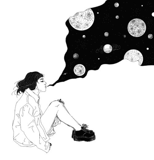 art, black and white, draw, drawing, favorites, girl, outline, outlines, planets, space, universe