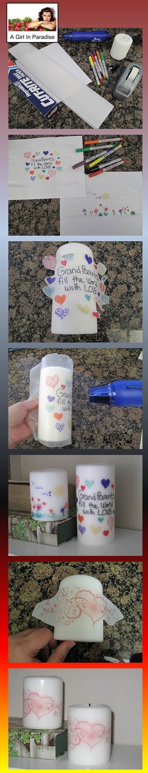 Personalize candles. A Girl in paradise You will need some regular paper, tissue paper, tape, sharpies or markers, a candle, wax paper, and a heat gun. In a second method she prints on Tissue paper fully taped to sheet of paper and put in  inkjet printer.  She uses a heat gun to transfer patterns. Great for kids art work for Grandma or a wedding candle.