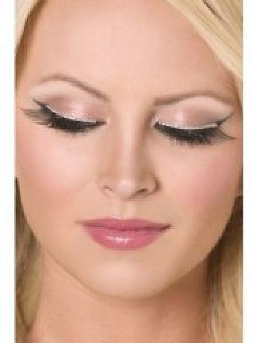 Ciglia finte nere con strass eyeliner argento. Complete di adesivo, riutilizzabili e facili da applicare. By C&C Creations Store