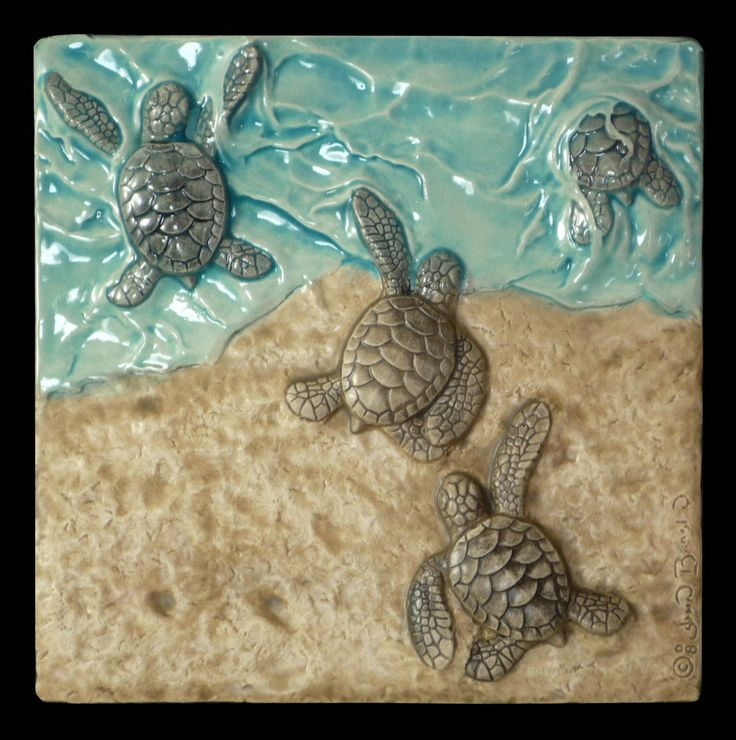 Sculpture, ceramic tile, art tile, Baby green sea turtles,  Last One In, wall art,  6x 6 inches, by MedicineBluffStudio on Etsy
