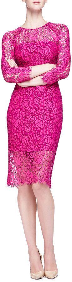 Lela Rose Long-Sleeve Lace Sheath Dress on shopstyle.com