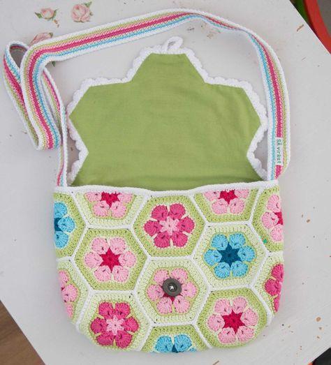 virka väska african flower gratis mönster