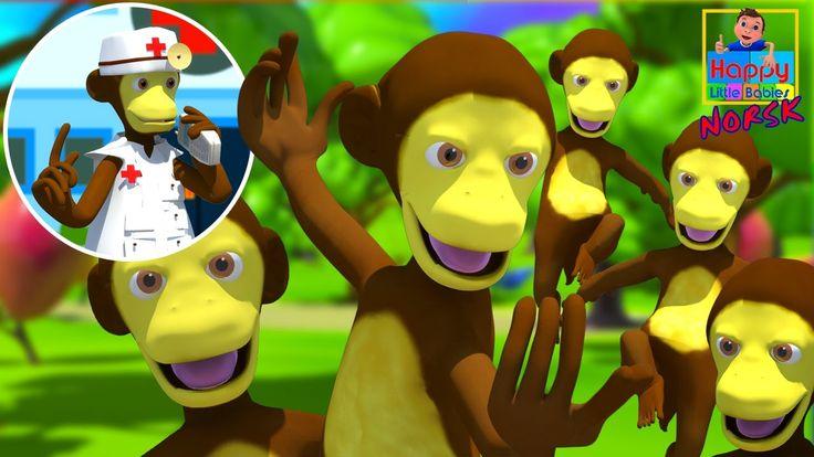 Fem små apekatter | Barnesanger på norsk | Norske Barnesanger