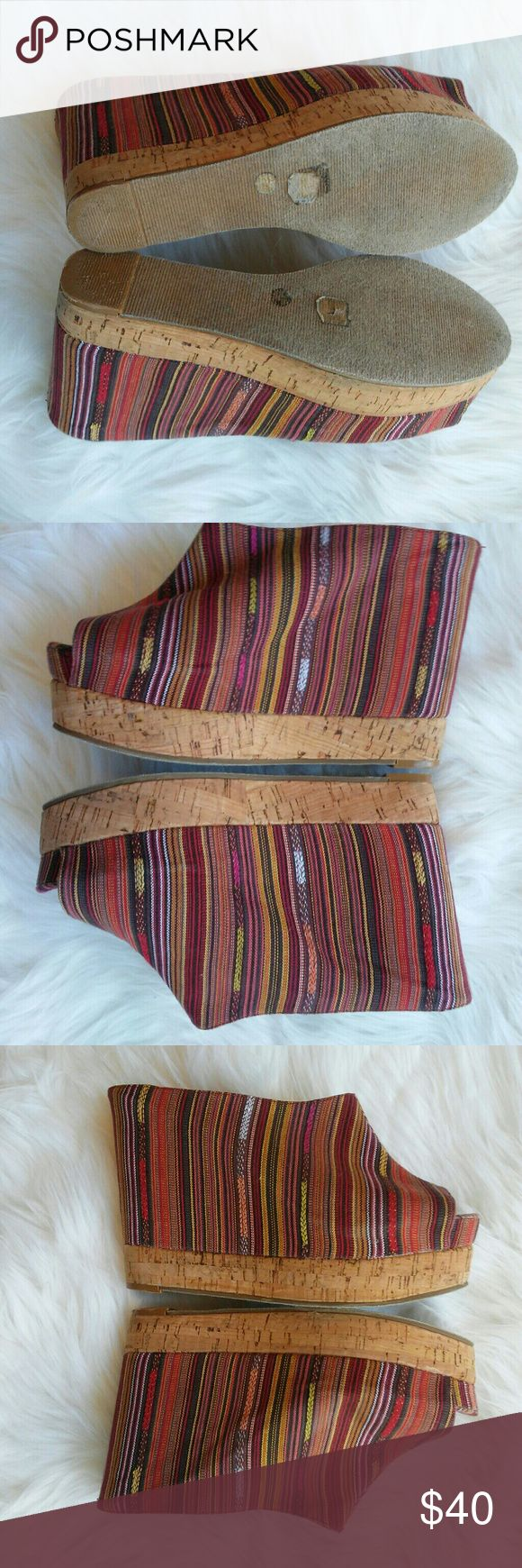 Chinese Laundry Stripe Wedge I love the tribal/ boho look!  *New condition- no marks *minimal scuff of back of bottom heels *open toe *cork style heel  Bundle to save! Make an offer.  Let me know if you have questions Chinese Laundry Shoes Wedges