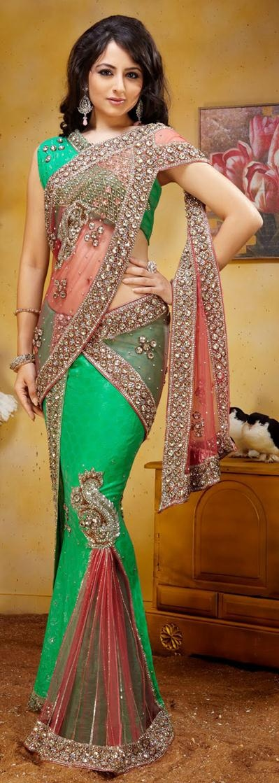$195.68 Peach and Green Diamond Work Net Lehenga Style Saree 22819