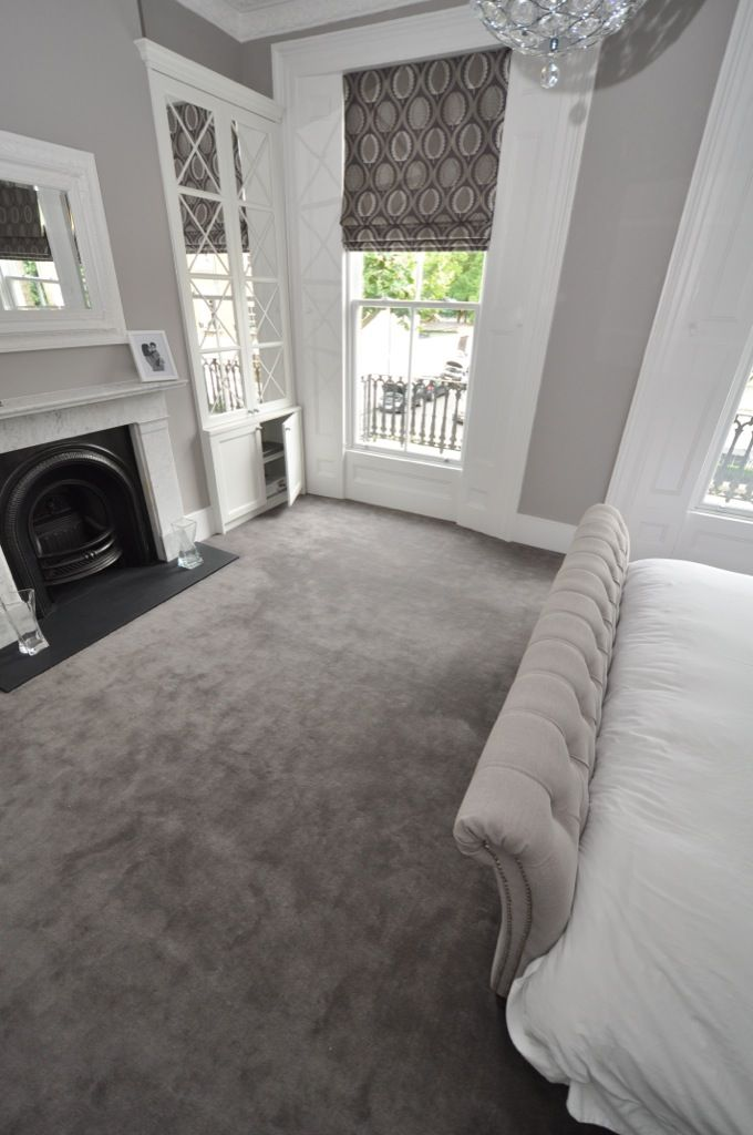 The bed end!! Elegant cream and grey styled bedroom. Carpet by Bowloom Ltd.