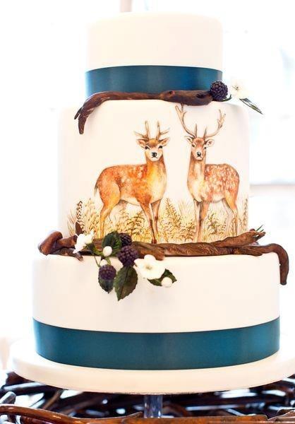 Hand-painted deer wedding cake