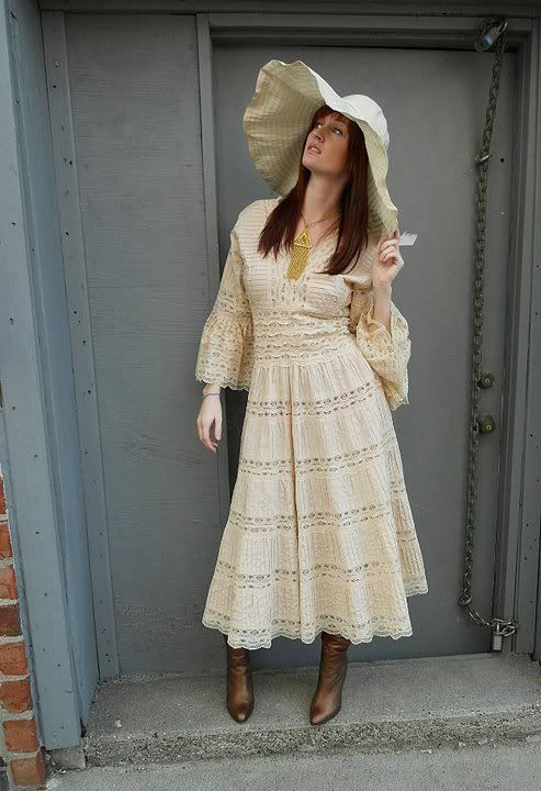 New vintage Mexican wedding dress pintucks and lace insertions