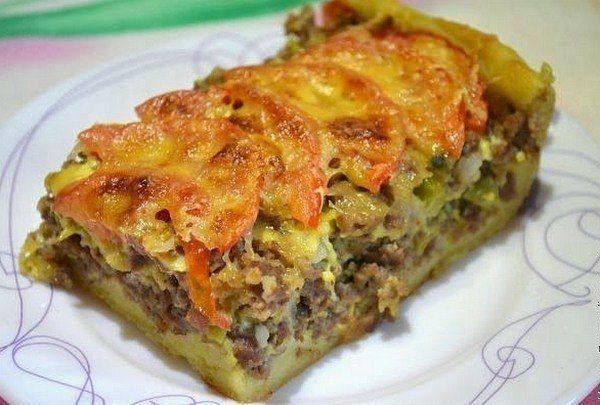 Открытый мясной пирог из картофельного теста - очень вкусно!