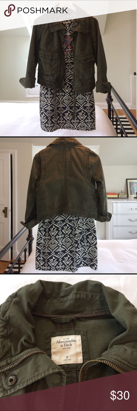 Abercrombie Cropped Military Jacket Cute cropped army green military jacket by A&F. I got this as a gift but have never worn it. Two front pockets, zip and snap front closure. Size is M but is more like a S. Excellent condition and like new. Super cute spring jacket! Abercrombie & Fitch Jackets & Coats Utility Jackets