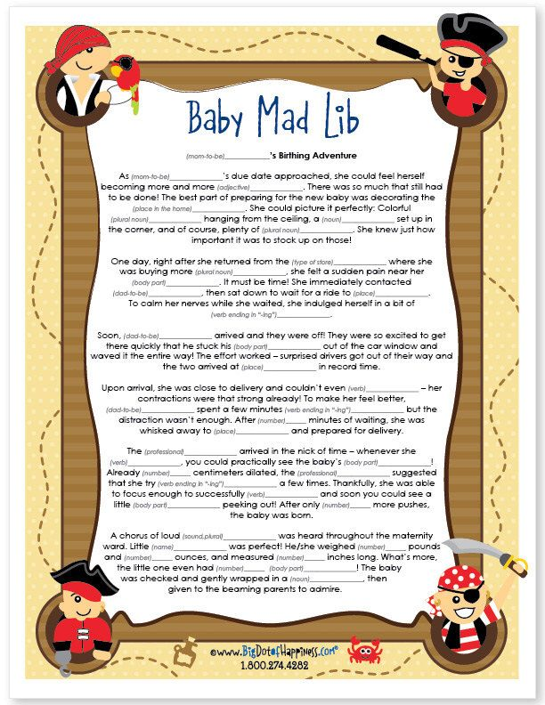 Pirate Baby Shower Mad Lib Game - Instant Download & Print Game by BigDotOfHappiness on Etsy https://www.etsy.com/listing/206107698/pirate-baby-shower-mad-lib-game-instant