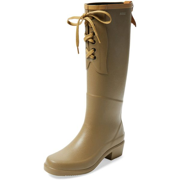 Aigle Miss Juliette Lace-Up Rain Boot ($139) ❤ liked on Polyvore featuring…