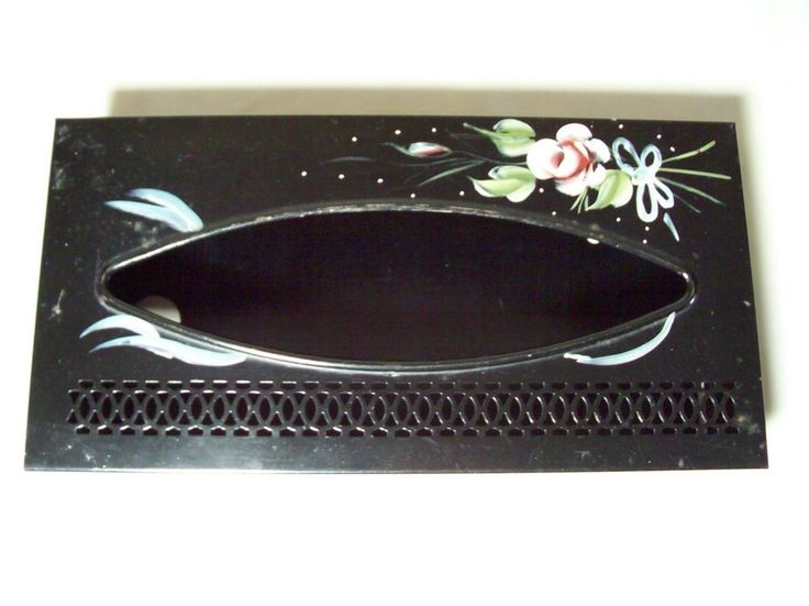 Mid-Century Modern Handpainted Tole Metal Tissue Box Holder Open Work Refillable