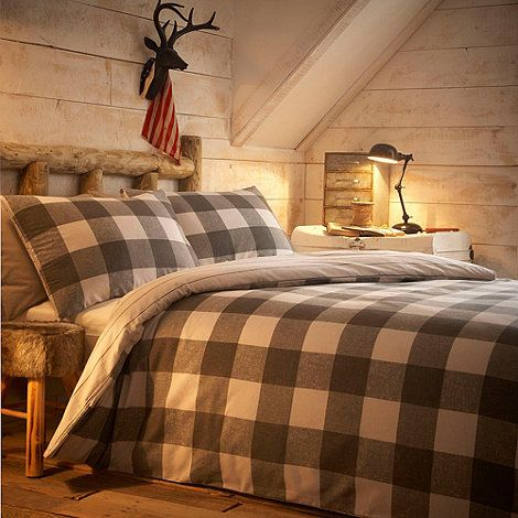 Home Collection Grey checked 'Felix' brushed cotton flannelette bedding set- at Debenhams Mobile
