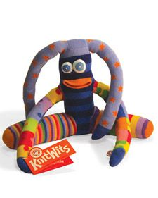 Knitwits Dolls ~    These charming animals are made using mismatched socks.    Tools and Materials  Sewing machine  Needle and thread  One adult sock  Four children's socks (mismatched)  Polyester stuffing  Scissors  Pins  Old T-shirt  Quilt batting  Chopstick  Fabric pens or embroidery supplies for eyes