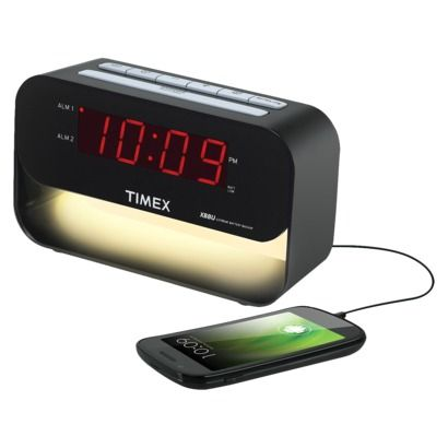 iHome with Night Light, USB charging port, Snooze Function, Dual Alarm, Battery Backup, Automatically Updates for Daylight Saving Time // $29.99