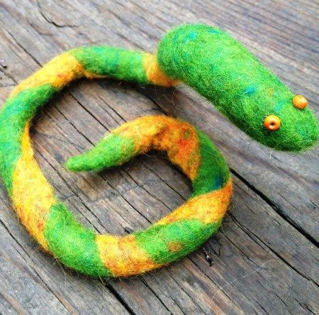 Felted Snake . Even a 4 year old can make this!