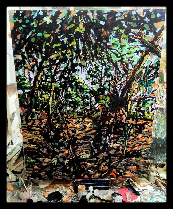 Scimmiettetuttocazzo2, olio su tela, 220x210cm, 2017, Nicola Facchini