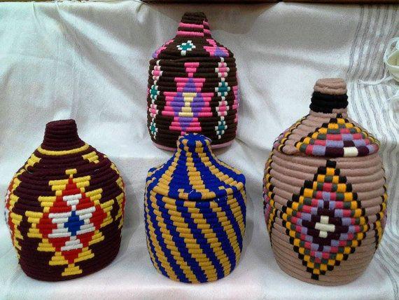 Handmade Vintage Moroccan Berber Baskets by BlanketThuyaWood