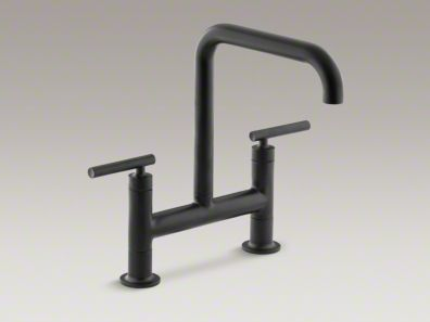 Kohler Purist Matte Black Bridge Kitchen Faucet