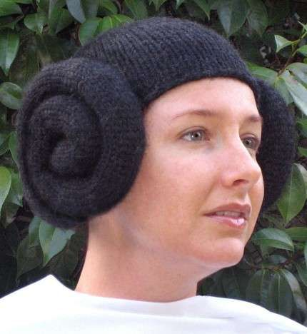 Knitted Princess Leia Hats Fake the Giant Two-Bun Look #starwars