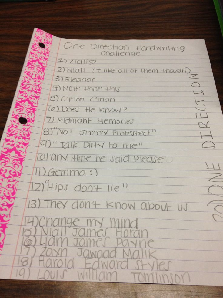Teenage handwriting