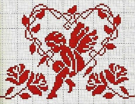 Ricami, lavori e centinaia di schemi a punto croce di tutti i tipi, gratis: Raccolta di schemi a punto croce a tema cuore-amore