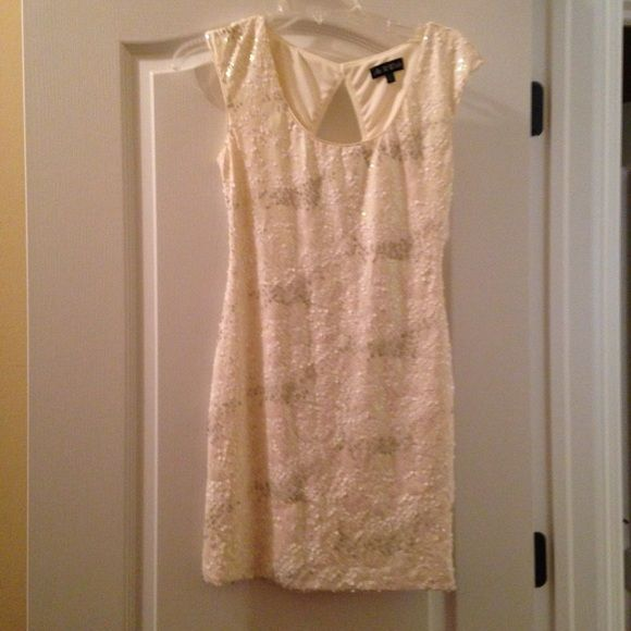 White sequined bachelorette dress sz  small Perfect bachelorette party dress for a bride! size small (2 or 4) fitted. Only worn once! Dresses