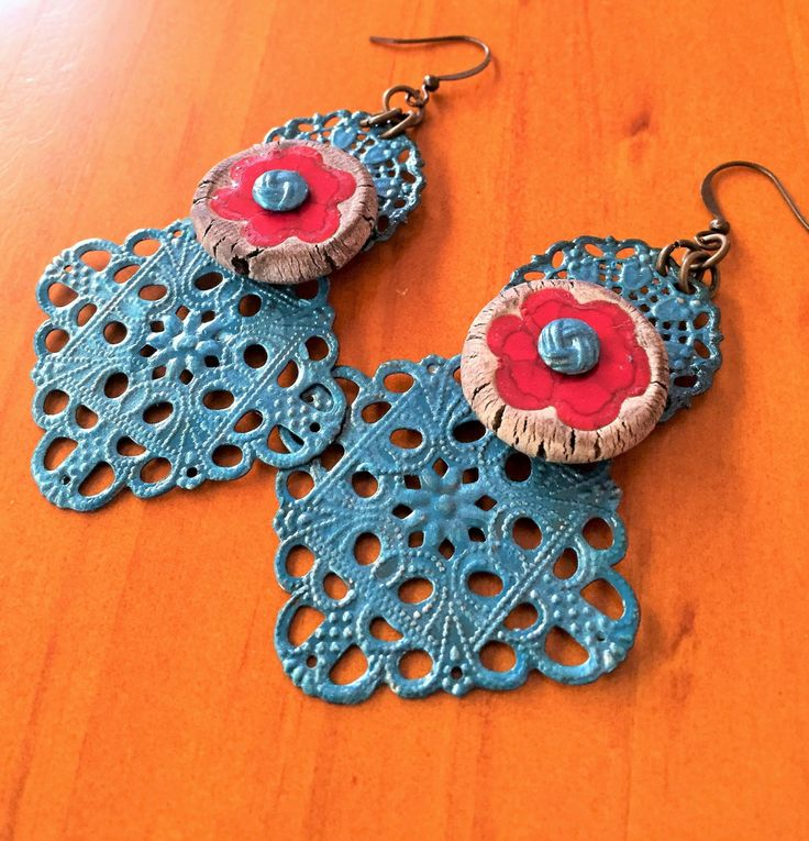 Frida's Bloom earrings by GreenfishBluefish on Etsy