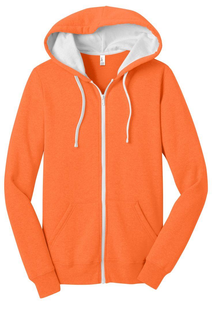 District Juniors Concert Fleece Full Zip Hooded Sweatshirt Hoodie DT801