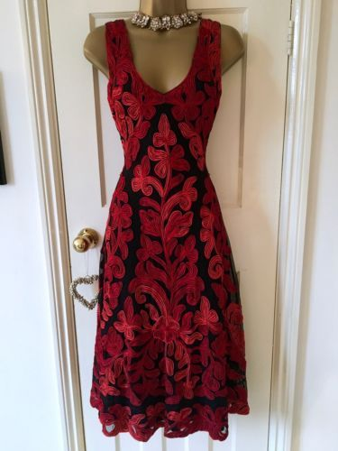 Beautiful-Phase-Eight-fit-and-flare-red-amp-black-tapework-dress-UK-10-immaculate