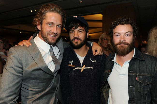 Jordan Masterson (center) with his brother Danny Masterson and Gerard Butler (Left) at the Machine Gun Preacher premiere in September 2011...