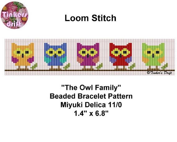 Owl Family Loom Beaded Bracelet Pattern van TinkersDrift op Etsy