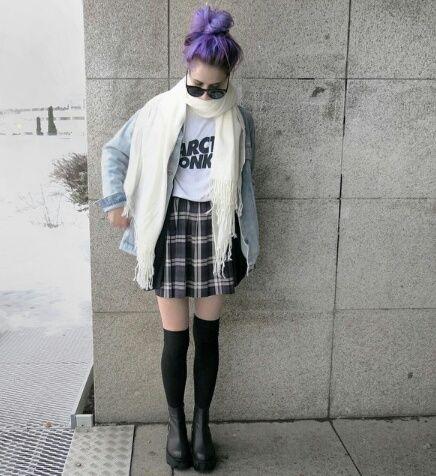 Camiseta de los AM chaqueta oversize falda a cuadros medias altas ♥♥