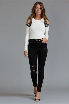 Kate High Rise Skinny Jeans In Distressed Black
