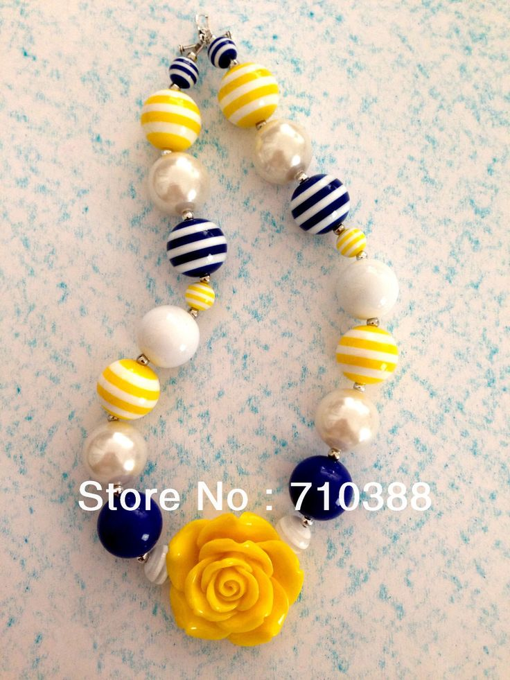 Orange rose flower big beads chunky bubblegum necklace lovely colors for kids children jewelry $5.70