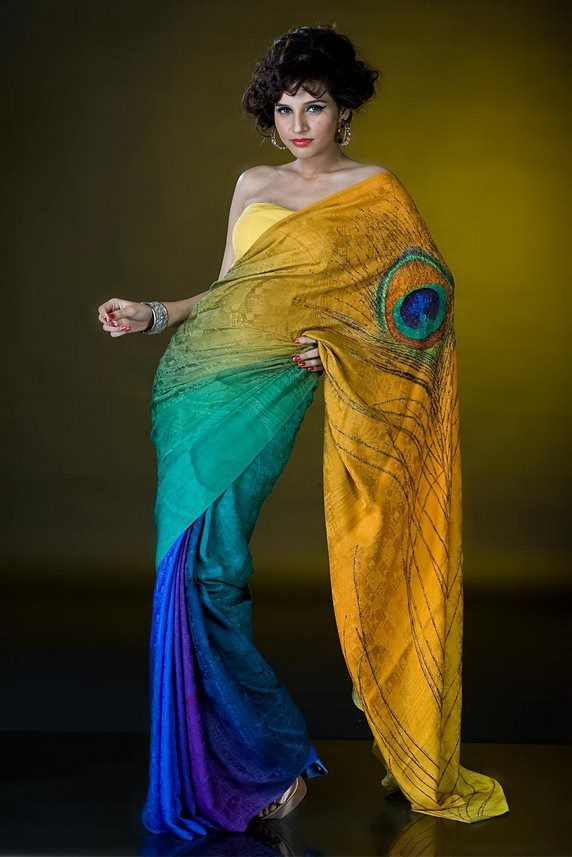 colors! Indian Sari the colours are well developed with a signature peacock eye on the shoulder of sari