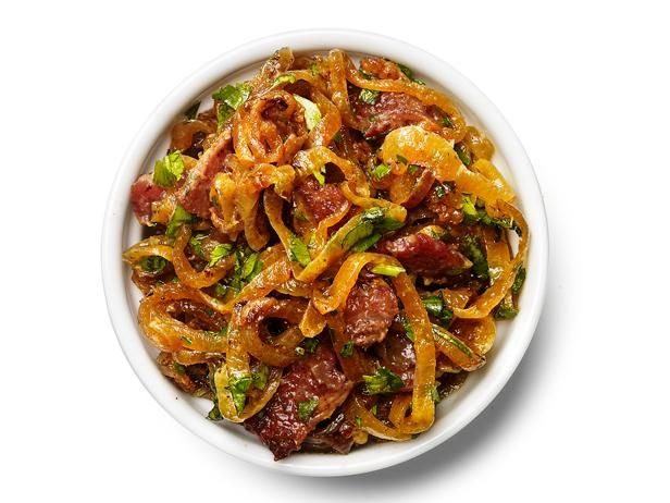 Bacon-Onion Relish : Cook 3 slices diced bacon until crisp; remove and reserve. Add 2 sliced onions to the pan. Season with salt and pepper and cook over low heat, covered, 10 minutes. Uncover and cook until golden, 30 more minutes. Stir in 2 tablespoons chopped parsley and the bacon.